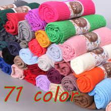 Bubble cotton very popular plain wrinkle scarf shawl wrap muslim hijab headband drape popular scarves 71color 10pcs/lot