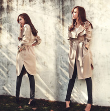 2015 New spring Arrival European Style Large Size Trench  Long Women fashion Trench Coat long Outerwear loose clothes