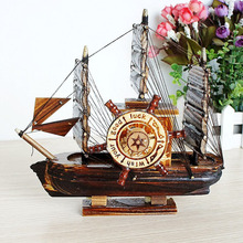 Creative Vintage Wood Sailboat Music Box Retro Swivel Mechanism Carousel Hand Craft Antique For Birthday Gift Home Decoration(China)