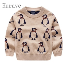 Hurave 2017 Children Sweaters Baby Boys girls Sweater Knitwear Winter Infant Sweater Cute Penguin Kids Clothing(China)