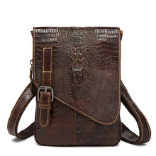 Bag man first layer of leather bag flip small crocodile Embossed Leather Shoulder Bag Messenger Bag