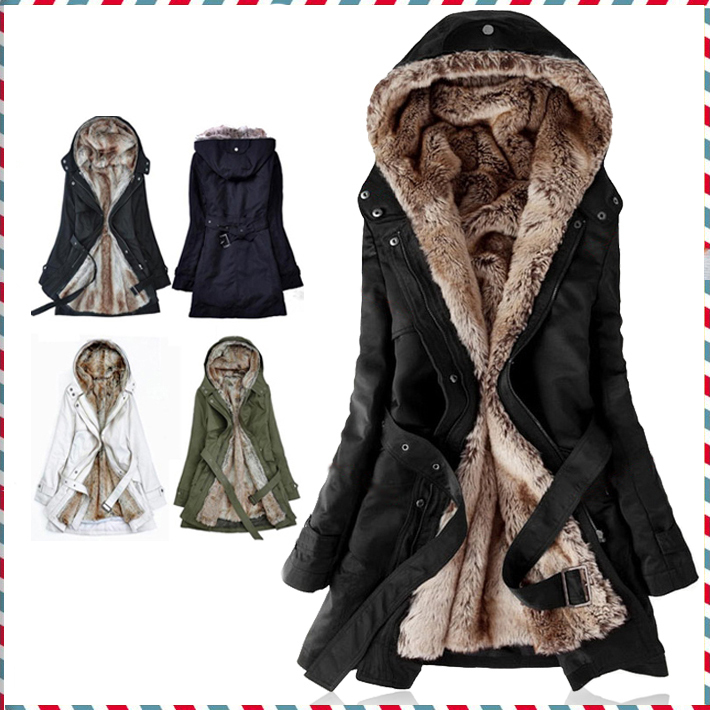 Thick Faux fur lining womens fur Hoodies winter warm long fur inside coat jacket cotton clothes thermal parkas AA1607Одежда и ак�е��уары<br><br><br>Aliexpress