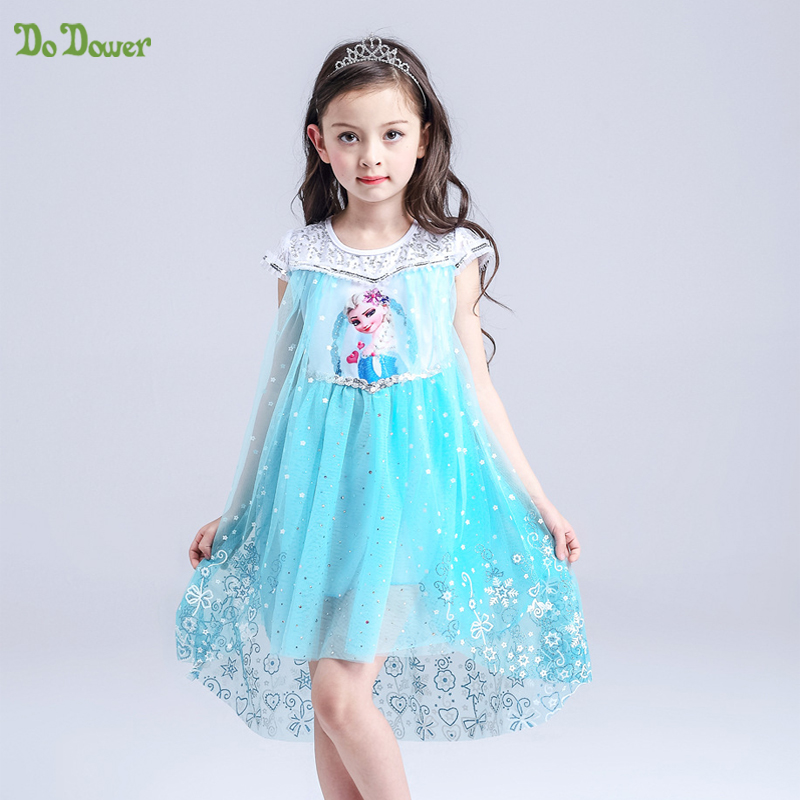 2017 hot Brand Baby Girls Summer Frozen Dress Girls Cotton Princess Lace Dress Kids Party Dresses<br>