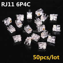 50pcs 4Pin RJ11 6P4C Crystal Plug Connector Adapter Telephone Cable RJ11 cat3 Plug Connector Adapter Socket HY849