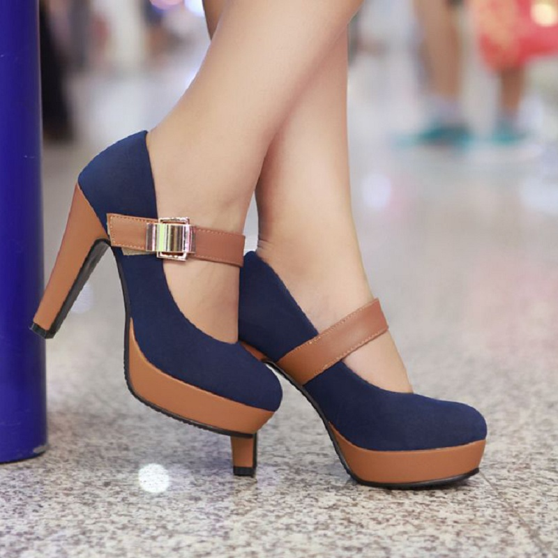 thick high heel shoes buckle women sexy fashion lady platform pumps EUR size 34-39<br><br>Aliexpress