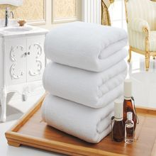 Solid White Large Bath Towel High Quality Thickening 100% Cotton Hotel Adult Towels Soft Comfortable Water Absorption Face Towel(China)