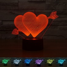 Cupid's Arrow LOVE 3D Night Light Acrylic Colorful Gradient LED Lamp Ambient Light Table Light