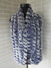 Genuine  rex rabbit fur  scarf wrap cape  collar  long size violet with white tips shipping free