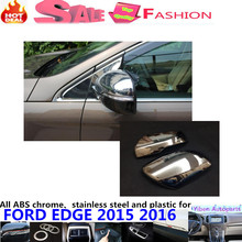 Car body ABS chrome back rear view Rearview Side Mirror Strip stick trim panel lamp hoods 2pcs For Ford EDGE 2015 2016(China)