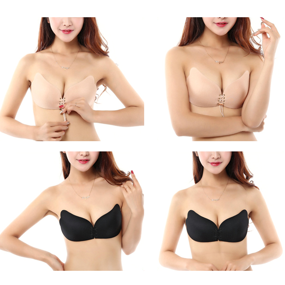 100 pcs Super Breathable Self Adhesive Strapless Bandage Stick Butterfly Wing Bra Silicone Push Up Bra Drawstring Invisible Bra 10