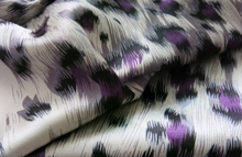 peacock feather charmeuse satin fabric home decor soft dress material purple leopard print fabric for clothing(China)