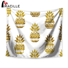 Miracille Tapestry Wall Hanging Gold Glitter Pineapple Cat Bohemian Bedspread Dorm Cover Home Room Wall Art Decor Mat Textiles