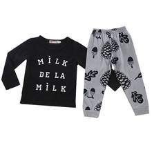 2 Pcs/Sets Children's Outfits Sets Letters Printed T-shirt Tops+Pants Newborn Baby Infant Boys Girls Outfits Kids Clothes Sets