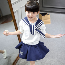 Toddler girl clothes 2 PC baby set long sleeve T-shirt + short skirt kids boutique clothing collection hot sales girl's skirt