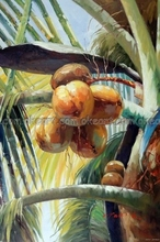 100% hand painted Coconut Palm Tree Tropical Florida Caribbean Oil On Canvas Painting Art free shipping High quality