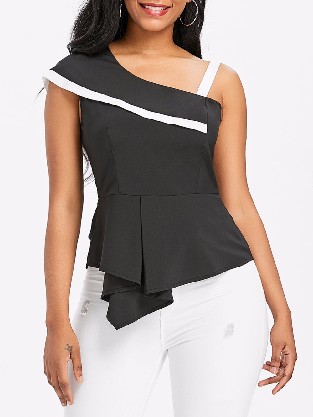 VESTLINDA One Shoulder Skew Neck Peplum Asymmetrical Black Blouse Womens Tops and Blouses Summer Top 2018 Clothes Blouse Shirt 5