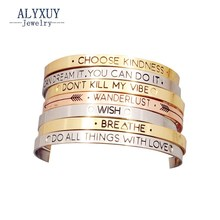 Fashion accessories jewelry Iron letter brave wish mix design cuff bangle lovers' gift B3416(China)