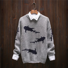2017 Japanese Retro Men Christmas Sweater Fashion Thickening Men's knitted Sweater Patterns Shark O-neck Sweaters Men Pullovers
