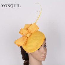 15 colors yellow nice imitation sinamay base fascinator hat with feather for wedding high quality derby headpieces race headwear(China)