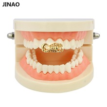 JINAO Hip Hop Gold Tone Scorpion & Crown Heart Shape Removable Grillz (Double Teeth Cap) for the Top Or Bottom Teeth Solid