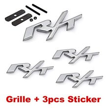 4pcs Silver RT R/T Grille + 3pcs Emblem Decal Badge Sticker for Dodge Charger Ram 1500 Challenger Jeep Grand Cherokee