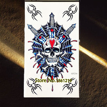 Large Body Art Painting Temporary Tattoo Arm Sleeves Skull Head Swords War Blood Waterproof Flash Tattoo Sticker For Men GGF234