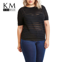 Kissmilk Women Sheer Mesh Striped Patchwork T-shirts Plus Size Clubwear Tops O-neck Striped Punk Big Size Tees for Girls 6XL(China)