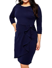 Plus Sizes Xxl Ruffle High Waist Blue Women Formal Business Dress Wear To Work Casual Bodycon Modest Lady Fashion Office Dress(China)