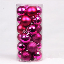 24pcs/Barrel Christmas tree Ball Rose Matte mixed 4cm Balls Accessories Free Shipping High Quality DN205-6