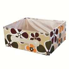 Free shipping 9L Clothing and toy makeup organizer basket colorful flower canvas painting folding storage box container(China)