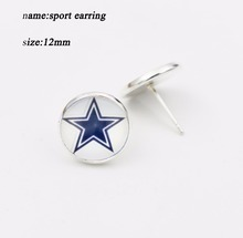 Stainless Steel 10 Pairs Dallas Cowboys Football Time Gem Sports Charm Glass Stud Earrings For Sports Fans(China)