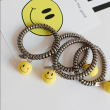 Korea Round Smiling Face Love Expression Hair accessories Rope Telephone Line Hair Circle Ball Head Tie Hair Ornaments headwear