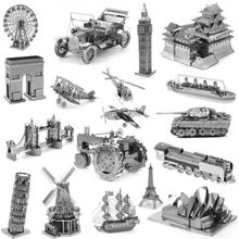 3D Metal Puzzles for children Model kids Toys For Children/Adult Cartoon Jigsaws Eiffel Tower Ford Car Tank Sky Wheel Titanic