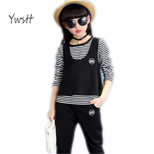 Children sports suit 2017new spring girls clothing set kids Striped vest & long sleeve t shirt & Sweatpants 3 pcs china clothes