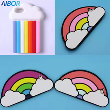 Fashion cute 3D white clouds rainbow jelly candy color stripe soft silicone cell phones case For Iphone 5 5S SE 6 6s plus/7 plus