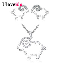 Uloveido Silver Color Crystal Jewelry Set Sheep Necklace and Earring Set Costume Jewelry Earrings Vintage Wedding Sets JS501T