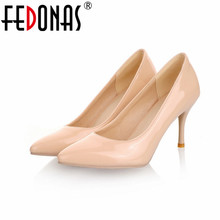 FEDONAS Big Size 34-45 2017 New Fashion High Heels Women Pumps Thin Heel Classic White Red Nude Beige Sexy Prom Wedding Shoes
