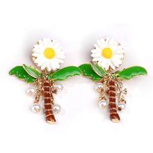 New Arrival Pearl Oil Colored Daisy Coconut trees Golden Drop Earrings for Women Gifts Fashion Brincos With Cross Charm