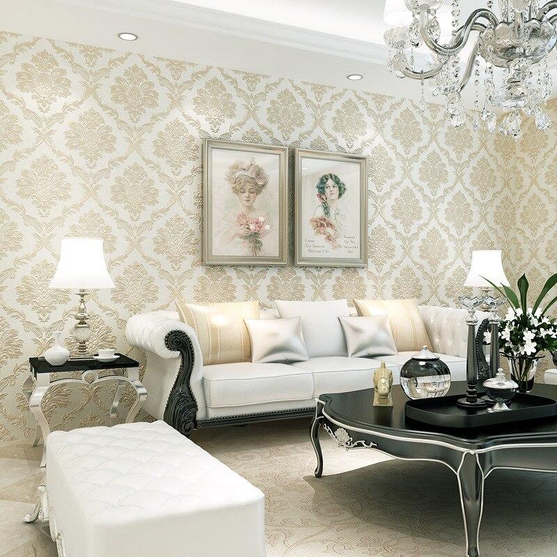 Fine pressure Continental Damascus wallpaper environmental three - dimensional non - woven wallpaper bedroom living room wall<br><br>Aliexpress
