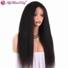 AliBlissWig Kinky Straight Full Lace Human Hair Wigs For Black Women Natural Color 130% Density Brazilian Remy Hair Hand Tied