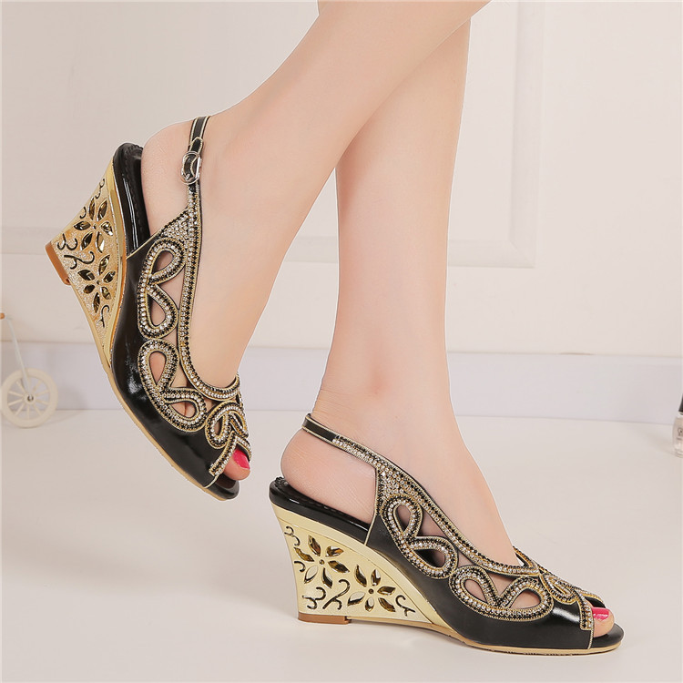 2017 Summer New Diamond Fashion Womens Black Peep Toe Wedges Bridal Sandals Wedding Shoes High Heels Cause Footwear-3