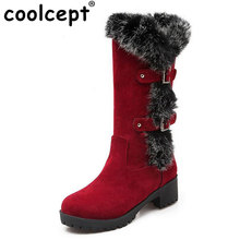 Coolcept 4 Colors Size 34-43 Women High Heel Boots Thick Fur Metal Mid Calf Boots Women Winter Shoes Warm Botas Women Footwears(China)