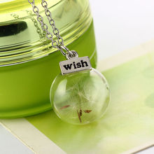 Buy Fashion Lucky Glass Wishing Bottle Beauty Handmade Real Dandelion Seeds Pendant Necklace Women Gril for $1.05 in AliExpress store