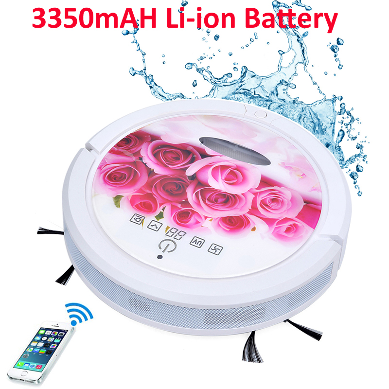Rose Color WIFI Smartphone App Control Wet and Dry Mop Baggless Vacuum Cleaner Robot With Water Tank,3350mAH Lithium Battery(China (Mainland))