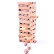 Mini Tumbling Stacking Tower Digital Wooden Puzzles Toys Building Kids Family Party Board Games For Children SL900070(China)