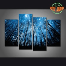 New 4 Pieces/sets Canvas Art 4 panels Starry sky HD Canvas Paintings Decorations For Home Wall Art Prints Canvas \J0038(China)