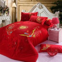 Chinese Dragon and Phoenix Wedding Red Bedding Set, Cotton Home Textiles Quilt Cover Pillowcase Bed Sheet Set Queen King Size