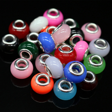 100pcs/lot 14MM Acrylic Mixed Color Big Hole Loose Beads Fit European Jewelry Bracelet Charms DIY(China)