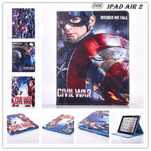 freeshipping 2016 new Super Hero IRONMAN captain america civil war pu Leather case stand flip Case cover for ipad air 2 ipad 6(China)