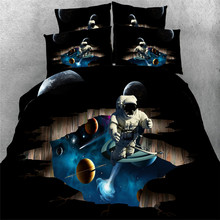 Free shipping cotton 3d outer space/astronaut/telephone/bus 5pcs with filling comforter set twin/full/queen/king/super king size